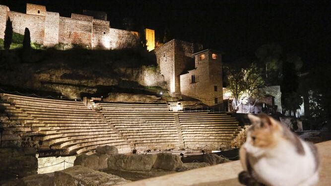 El Teatro Romano y la Alcazaba, en la calle Alcazabilla, iluminados en la noche malagueña.