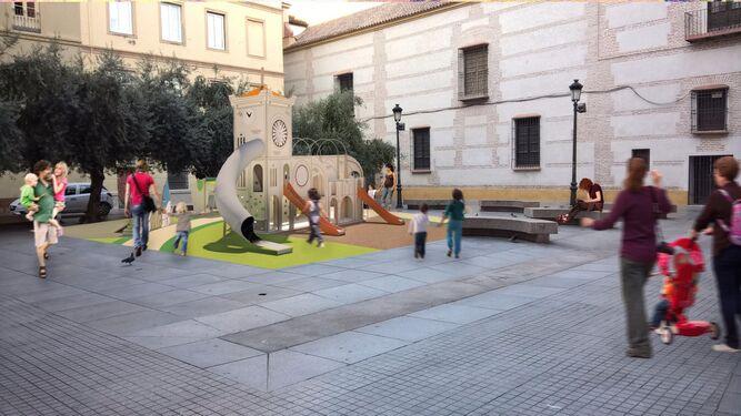 Diseño del parque infantil previsto en la Plaza de las Cofradías.
