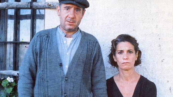 Con Alfredo Landa en 'Los santos inocentes'.