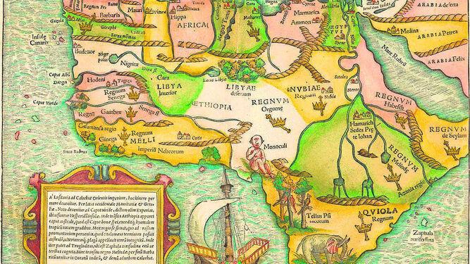 Mapa de 1554 del continente africano elaborado por Sebastian Münster.