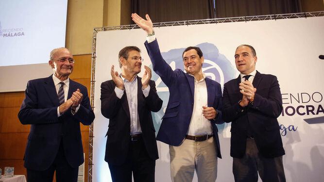 Francisco de la Torre, Rafael Catalá, Juan Manuel Moreno y Elías Bendodo, ayer.