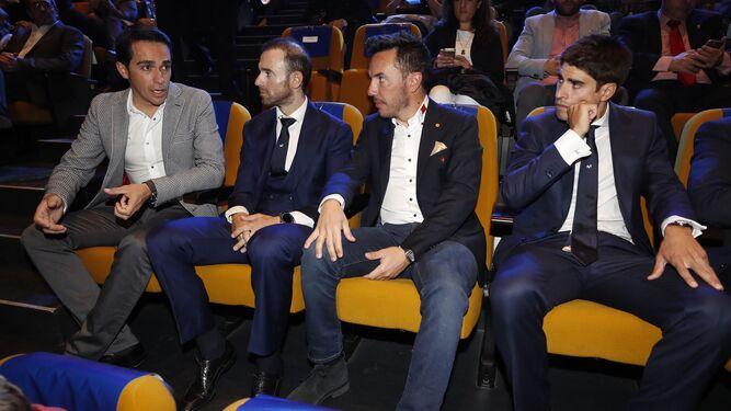 Contador, Valverde, Purito Rodríguez y Mikel Landa, en la presentación.