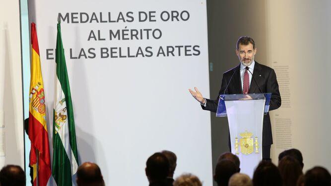 El Rey durante su intervención en las Medallas de Oro al Mérito en las Bellas Artes.