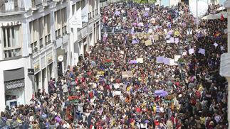 Concentración entre la calle Larios y la Plaza de la Constitución.