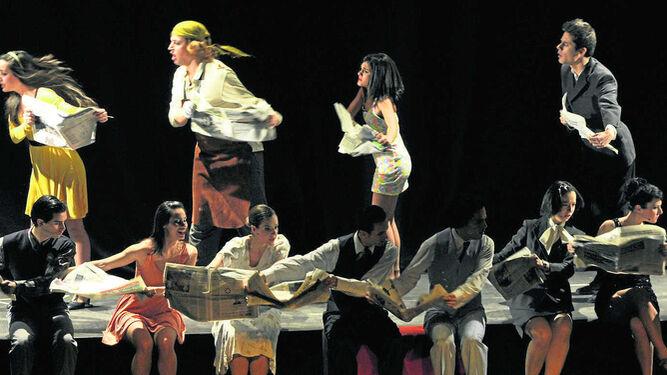 Representación de la comedia 'Un muerto con suerte' (2012) en el teatro de la Escuela Superior de Arte Dramático de Málaga.