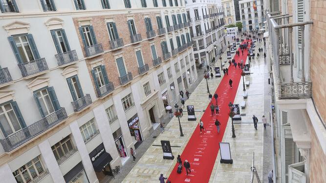 La alfombra roja del Festival de Cine que recorre toda la calle Larios.