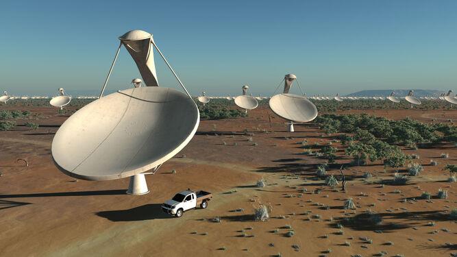 Recreación virtual de las antenas que integrarán el futuro radiotelescopio 'Square Kilometre Array' (SKA).