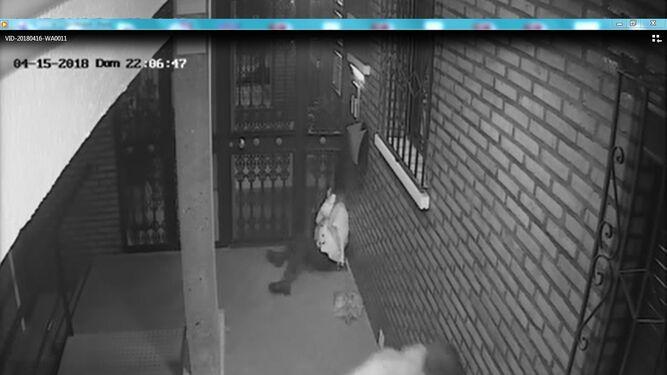 Imagen capturada de la grabación de la cámara de vigilancia, con la víctima en el suelo mientras su agresor huye.