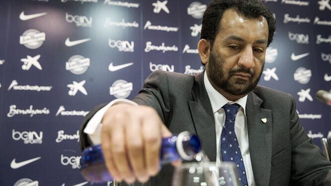 Abdullah Al-Thani, en la sala de prensa Juan Cortés del estadio de La Rosaleda.