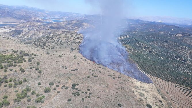 Declarado un incendio agrícola en Cuevas de San Marcos
