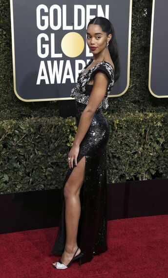 <p>Laura Harrier, de Louis Vuitton.</p><br>