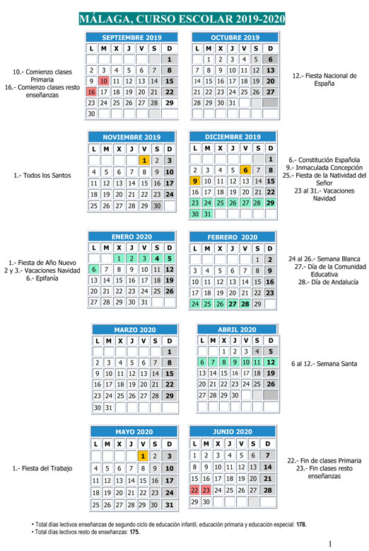 Calendario Para Escribir.Este Es El Calendario Escolar En Malaga Para El Curso 2019 2020