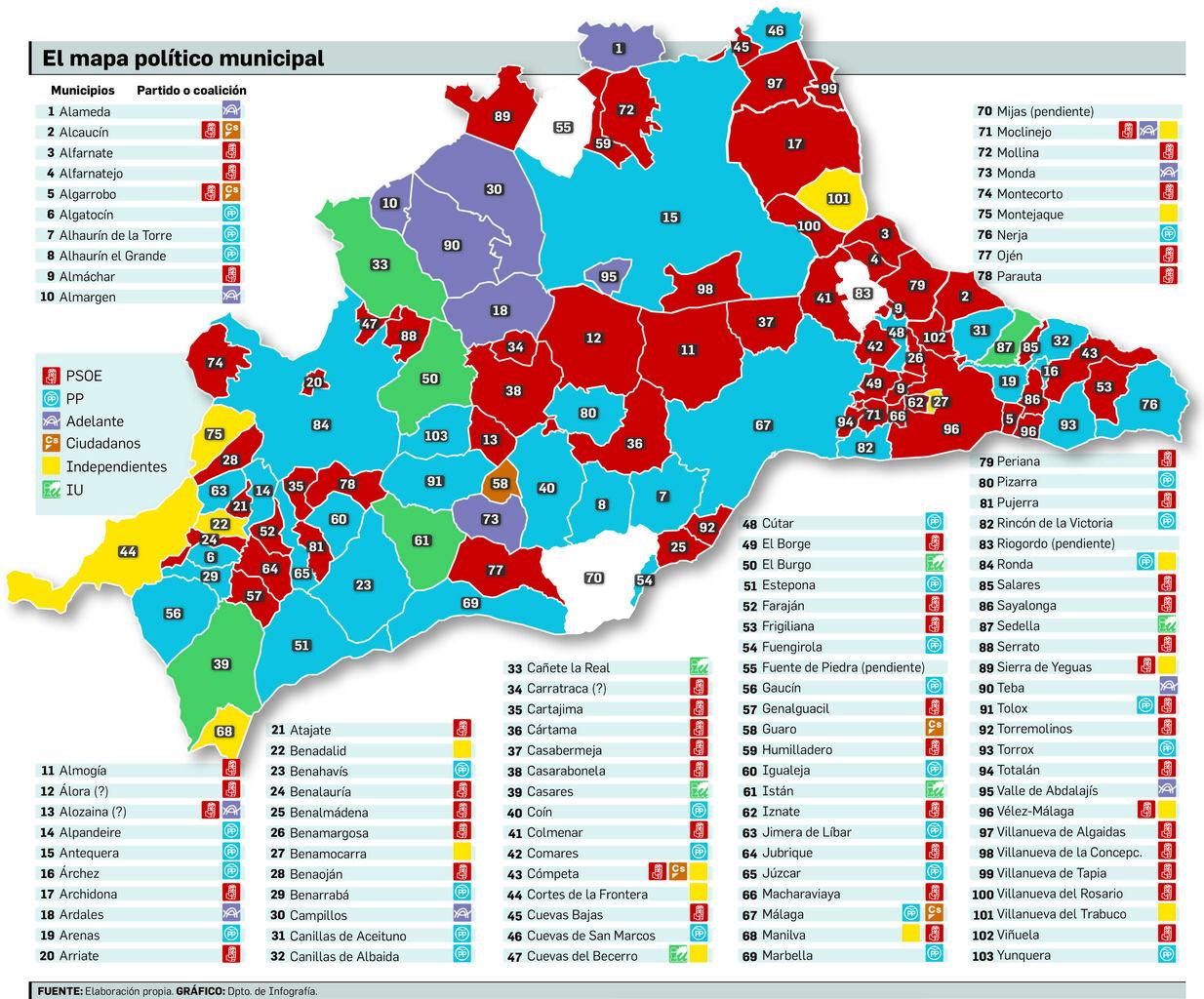 Mapa Provincia De Malaga Pueblos.Constitucion De Los Ayuntamientos En La Provincia De Malaga