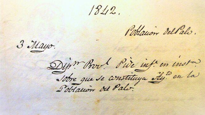 Documento de petición de segregación de El Palo de 1842.