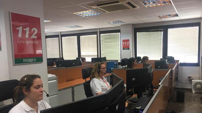 Sala del 112 Emergencias Andalucía.