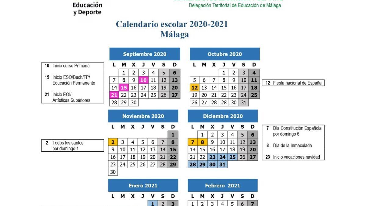 Calendario Del Próximo Curso En Málaga Infantil Y Primaria Comienzan El 10 De Septiembre Y Eso El 15