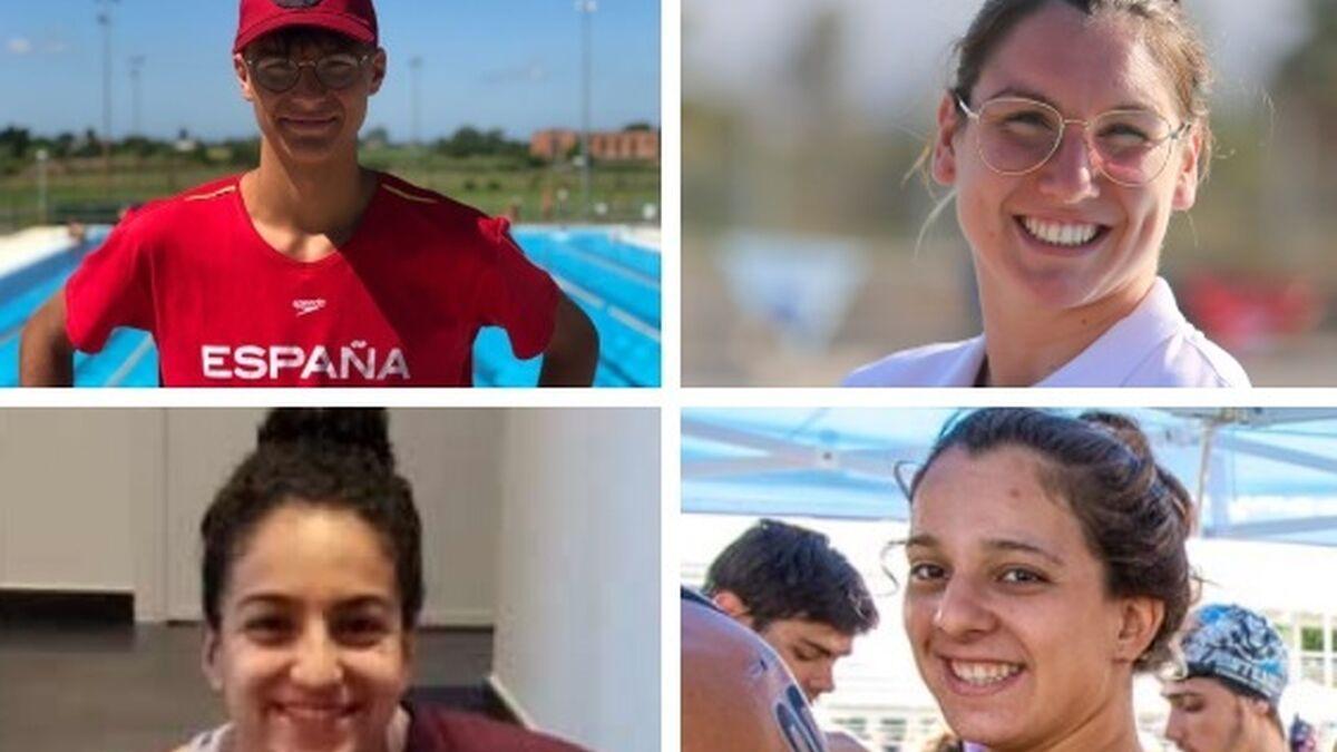 Paula Ruiz, María de Valdés, Ángel de Oña y Laura Rodríguez, con la selección española