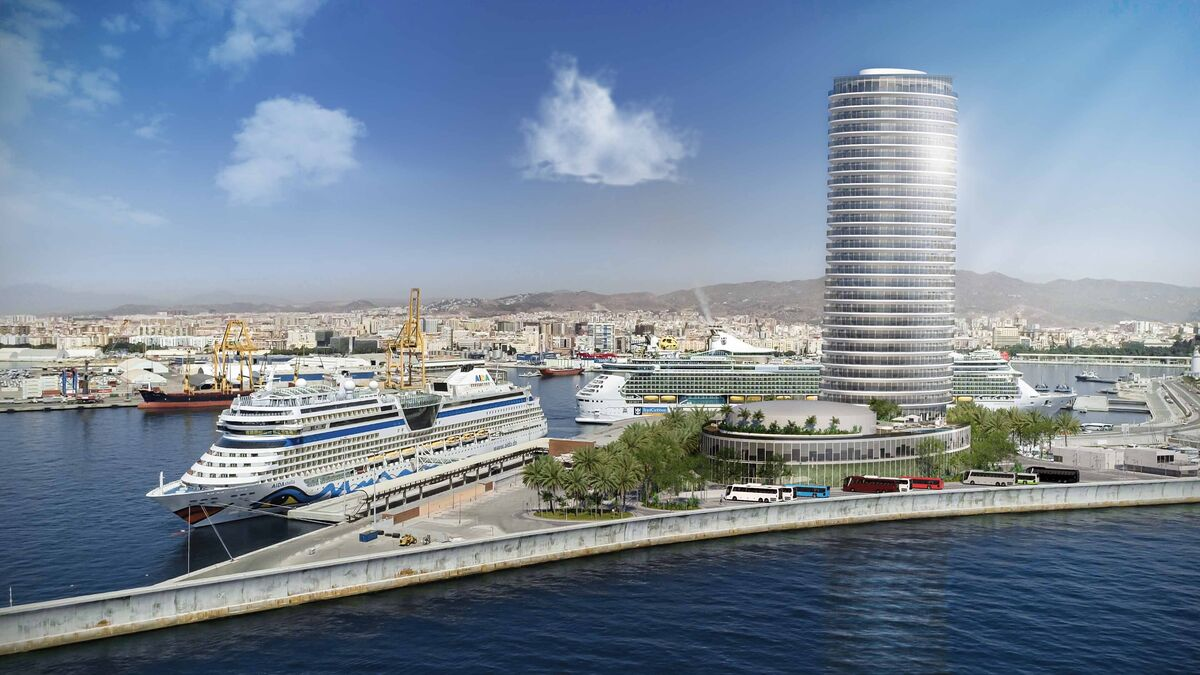 Proyecto arquitectónico de la torre-hotel del Puerto de Málaga.